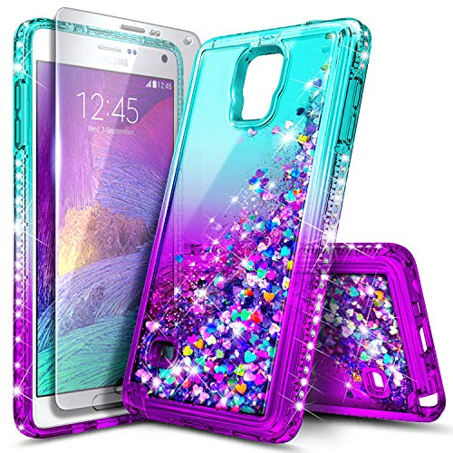 Galaxy Note 4 Case with Tempered Glass Screen Protector for Girls Kids Women, NageBee Glitter Liquid Sparkle Bling Floating Waterfall Diamond Cute Case for Samsung Galaxy Note 4 -Aqua/Purple