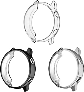 3 Pack - Fintie for Galaxy Watch Active 40mm Case, Premium Soft TPU Screen Protector All-Around Protective Bumper Shell Cover for Samsung Galaxy Watch Active Smartwatch, Black, Clear, Silver