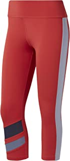 Reebok Women's Wor Colorblocked Capri Tights, Womens, EC2400, rebred