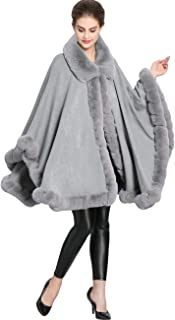 Women's Wool Scarf Shawl Cape Coat with Luxury Faux Fur Collar