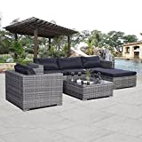 Castlebay 6pc Patio Sofa Furniture Set Pe Rattan Couch Outdoor Aluminum Cushioned Gray