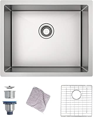 Menseajor Undermount Sink 27 X 18 Single Bowl Kitchen Sink Undermount Stainless Steel Kitchen Sink Bar Or Prep Kitchen Sink Amazon Com