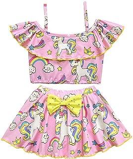 Girls' Off Shoulder Swimwear Ruffle Top Tankini Two Pieces Unicorn Bikini Swimsuit Costume