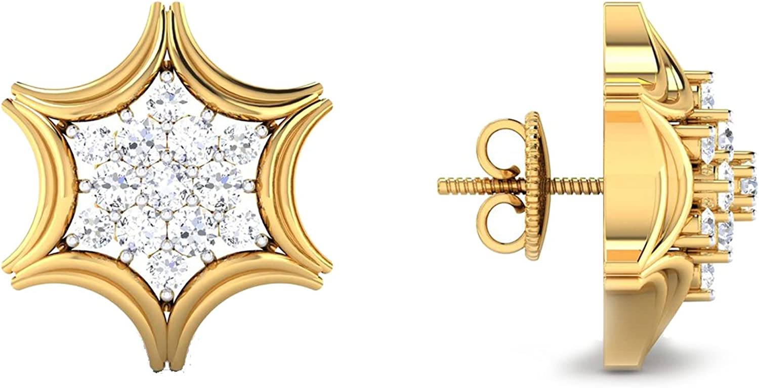 3djewels Women's 0.43 Cts Round Simulated Diamond Star Earring In 14K Yellow gold Plated