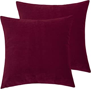 JSBYY Velvet Throw Pillow Covers Solid Color Decorative Cushion Cover Square Soft Pillowcases for Sofa Bedroom 18x18 Inch Set of 2 Burgundy Red