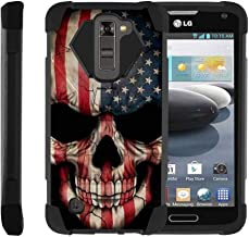 TurtleArmor   Compatible with LG K7 Case   LG Tribute 5 Case   LG Treasure Case [Dynamic Shell] Hybrid Dual Layer Hard Shell Kickstand Silicone Case - US Flag Skull