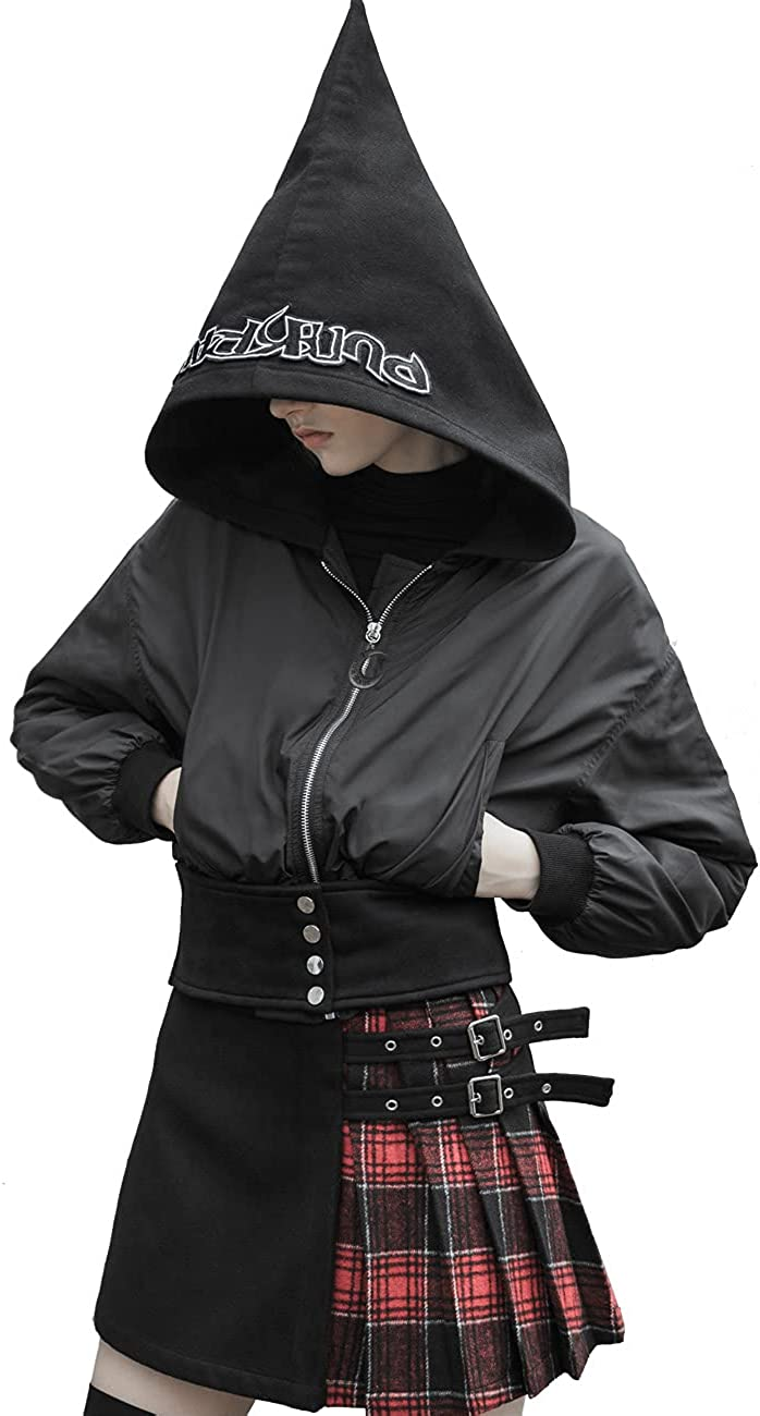 Punk Rave Gothic Girl Wizard's Hat Short Jacket Casual Thick Windbreaker Hooded Coat for Women