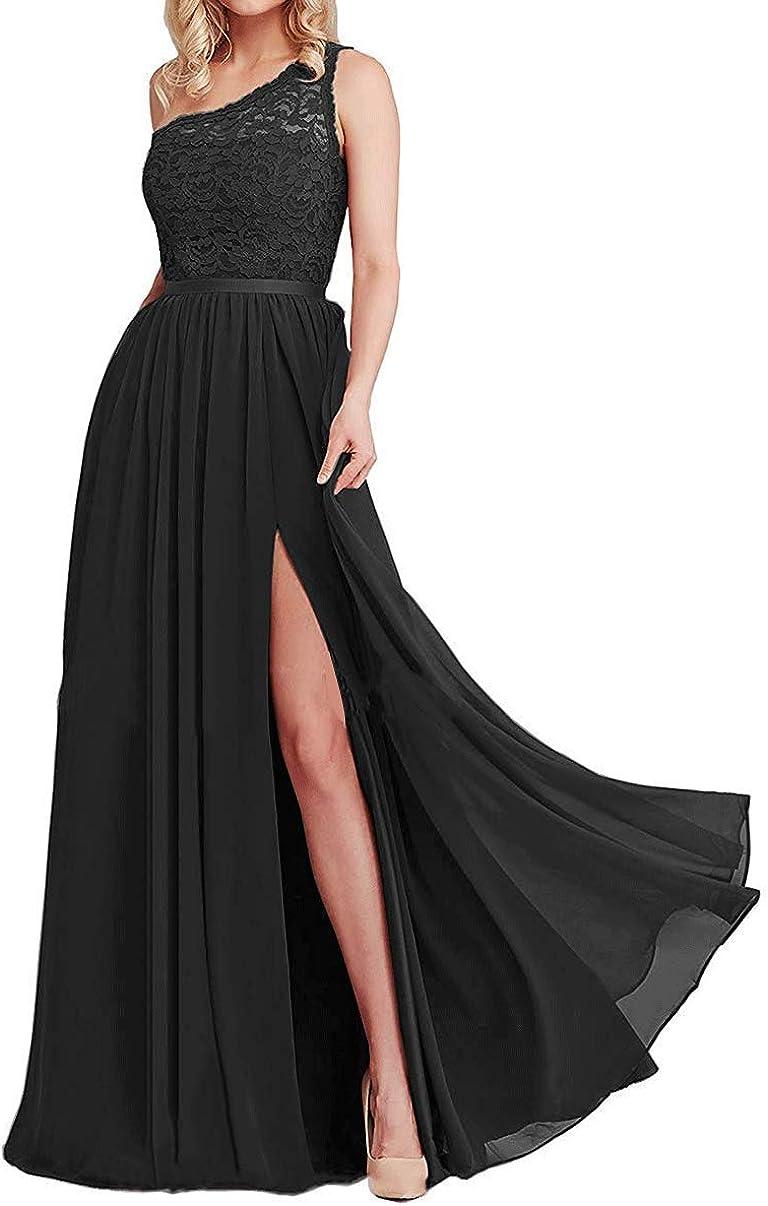 WANSHAQIN One Shoulder Lace Bridesmaid Dresses Military Gown Long Split Chiffon Wedding Party Dress for Women