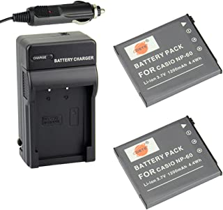 DSTE Replacement for 2X NP-60 Battery + DC75 Travel and Car Charger Adapter Compatible Casio Exilim EX-FS10 EX-S10 EX-S12 EX-Z9 EX-Z19 EX-Z20 EX-Z21 EX-Z25 EX-Z29 EX-Z80 EX-Z85 EX-Z90 Cameras