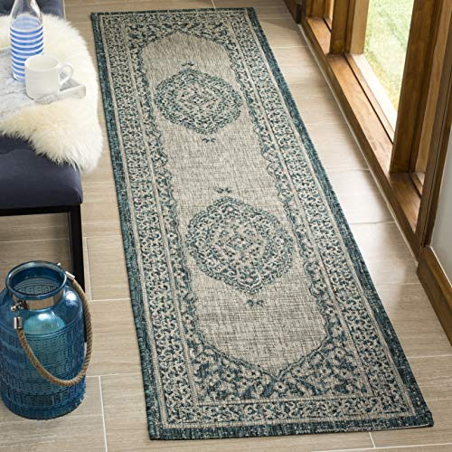 """Safavieh Courtyard Collection CY8751 Indoor/ Outdoor Non-Shedding Stain Resistant Patio Backyard Runner, 2'3"""" x 10' , Light Grey / Teal -  CY8751-37212-210"""