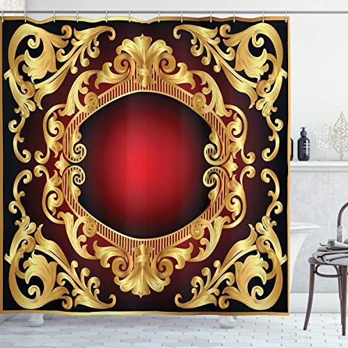 ABAKUHAUS Gelbes Damast Duschvorhang, Rahmen Barock, mit 12 Ringe Set Wasserdicht Stielvoll Modern Farbfest & Schimmel Resistent, 175x180 cm, Braun Gelb Bordeauxrot & Schwarz