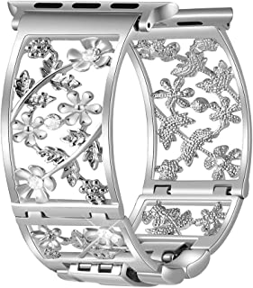 Duoan Floral Band Compatible with Apple Watch Jewelry Band 38mm 40mm iWatch Bands Series 4 3 2 1, Bling Crystal Replacement Strap Hollow Metal Cuff, Fashion Women Girls Wristband (38mm/40mm Silver)