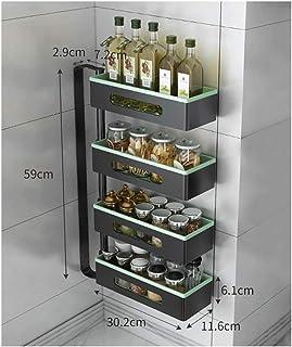 Étagère à épices Cuisine Assaisonnement rack 4 couches Rotatif à grande capacité de stockage en rack, Pas besoin de percer...