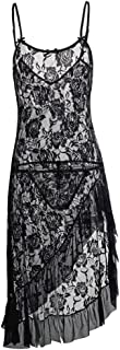 HiSexy Women's Sexy Boudoir Lingerie Set Long Adjustable Strappy Dress See-Through Lace Negligee Chemise