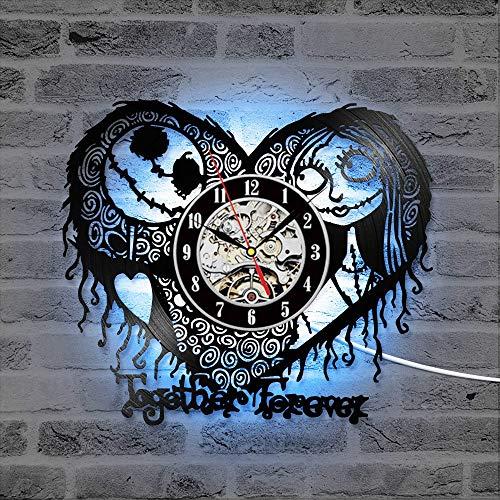 Eld Pesadilla Antes de Navidad Reloj de Pared con Registro Reloj LED Vintage Reloj con diseño de corazón de 7 Colores Reloj de Vinilo Decoración del hogar Regalos para el día de la Mad