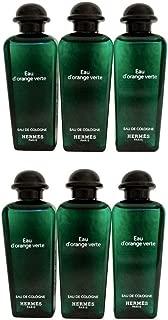Six (6) Hermès Eau d'Orange Verte Colognes from Paris - Luxury Fragrance for Men and Women, Six X 1 Ounce / 30ML Plastic Splash Parfum Bottles, Total 6 Ounces / 180ML