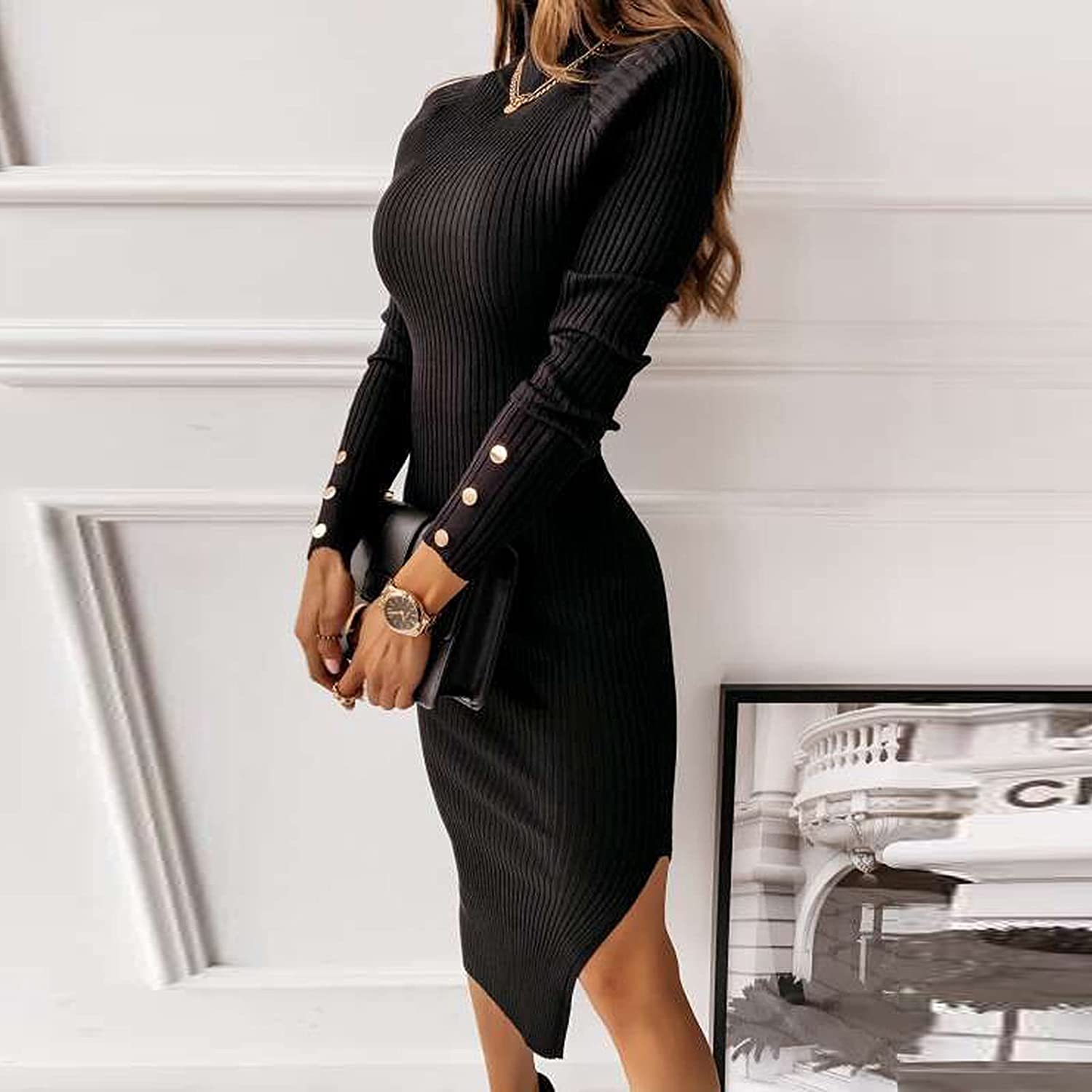 Bobono Sexy Dresses for Women Turtle Neck Cutout Backless Long Sleeve Solid Color Ribbed Slit Trendy Casual Fall Club Dress