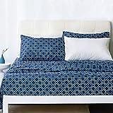 Bedsure Pattern Queen Sheets - Printed Bed Sheet Set - Quatrefoil - Ultra Soft Microfiber - 14 inches Deep Pocket - 4 Pieces (Navy)