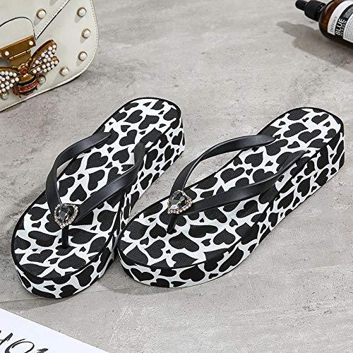 B/H Zapatillas de baño Unisex,Sandalias de cuña para Mujer, Chanclas en pedrería-Negro_37