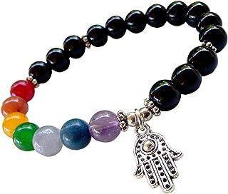 Spiritual Unisex Men, Women 8mm Lava Rock Beads 7 Chakra Evil Eye Bracelet Black Healing Energy Stone Reiki Bracelet Gemst...