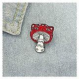 QIANSDZSW Broches y alfileres Lindo Rojo Seta Rana Broche Bolsa Ropa Mochila Solapa Esmalte Pin Badges Dibujos Animados Regalo para Amistad Mujeres Accesorios (Metal Color : Styles 2)
