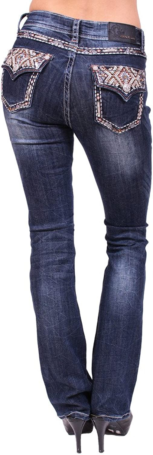 Grace in LA Women Boot Cut Jeans with Leather Plaid Design and Flap Coin Pocket