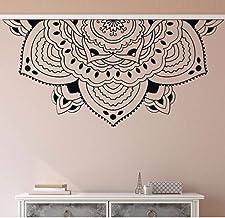 Home Decor Half Mandala Wall Decal Meditation Style Bedroom Wall Decor Half Mandala Car Window Sticker Headboard Sticker 57X118Cm