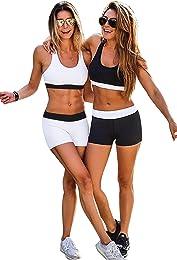 Ensemble Yoga Femme Sport Soutien Gorge et Shorty