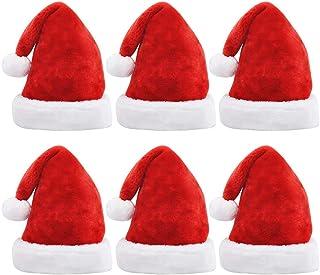 SAPU 6PCS Santa Hat Christmas Party Hat Unisex Velvet Fabric Christmas Hat with Comfort Lining&Plush Brim Red