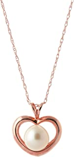 """Galaxy Gold 14k 22"""" Rose Gold Open Heart Genuine Pearl Pendant Necklace"""