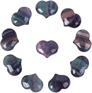 Justinstones Natural Rainbow Fluorite Gemstone Healing Crystal 1 inch Mini Puffy Heart Pocket Stone Iron Gift Box (Pack of 10)