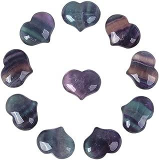 Justinstones Natural Rainbow Fluorite Gemstone Healing Crystal 1 inch Mini Puffy Heart Pocket Stone Iron Gift Box (Pack of 10)