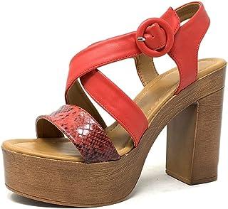 ab6e96d9eb629a Angkorly - Chaussure Mode Sandale Sabot Vintage/rétro légère Plateforme  Femme Effet Bois Effet Serpent