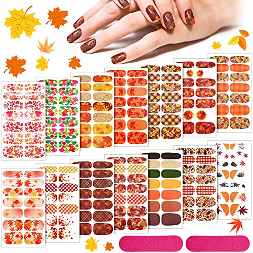 14 Sheets 196 Pieces Fall Nail Art Decal Thanksgiving Full Nail Wrap Maple Leaf Nail Sticker Self-Adhesive Nail Polish Strip with 2 Pieces Nail Files for Women Girls (Maple Leaf and Sunflower Series)