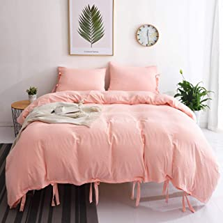 M&Meagle Duvet Cover Pink,Solid Color Bowknot Design,100% Microfiber Treated by Washed Cotton Process,Feels Like a Very Soft Cotton-Queen Size(3Pcs,1 Duvet Cover 2 Pillowcases)