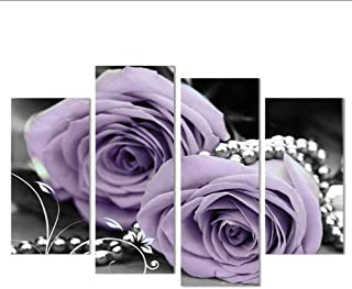 Posters Prints 4 Canvas Painting Hand Painted Modern Purple Rose Flower Art Decoration Of Oil Painting Wall Pictures For L...