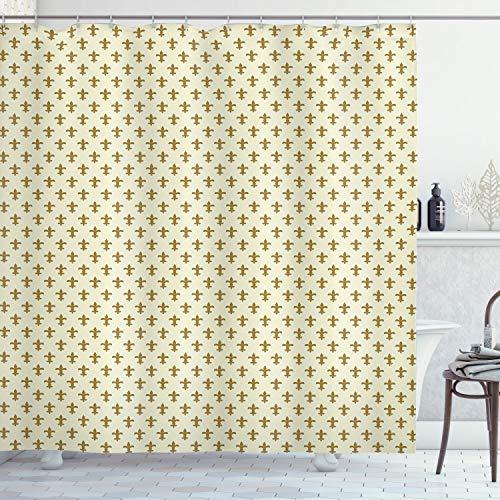 ABAKUHAUS Retro Cortina de Baño, Flor del diseño del Lirio, Material Resistente al Agua Durable Estampa Digital, 175 x 200 cm, Crema y Amarillo