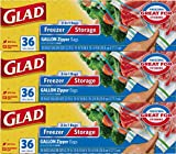 Glad Food Storage and Freezer 2 in 1 Zipper Bags - Gallon Size - 36 Count Each (Pack of 3) (Package May Vary)