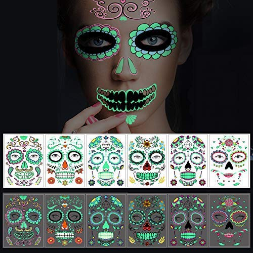 Halloween Temporary Face Tattoos, 6 sheets Glow in the Dark Tattoos Sugar Skull Stickers Day of The Dead Makeup, for Masquerade and Parties