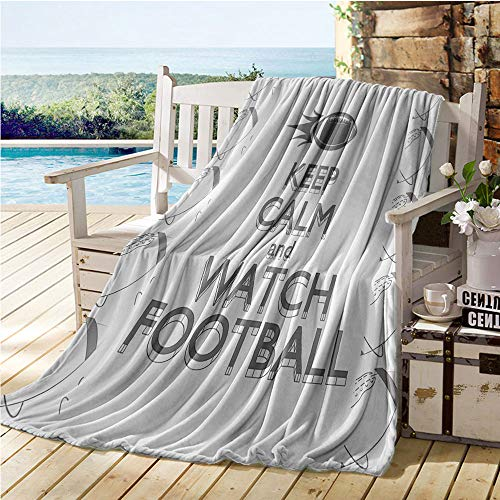 Jecycleus Football, Warm Microfiber All Season Blanket, American Sport Play Keep Calm Quote Monochrome Rocket Ball Vintage Label, Velvet Plush Throw Blanket 60x50 Inch Black White Grey