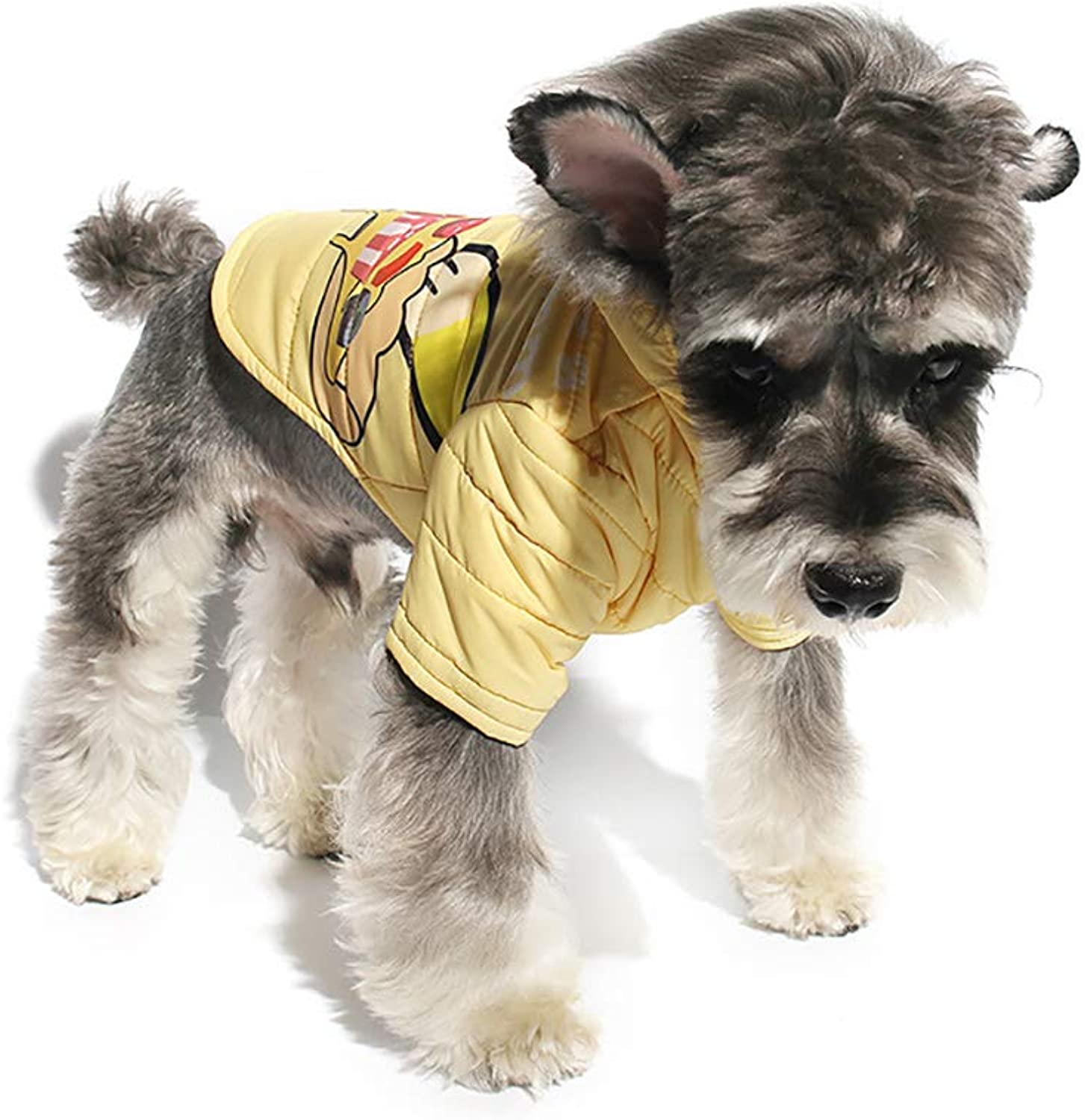 Fashion Dog Hoodies 2 Legs Pet Clothes Cotton Puppy Winter Sweatshirt Warm Sweater Coat Suitable for Outdoor Walks,Yellow,L