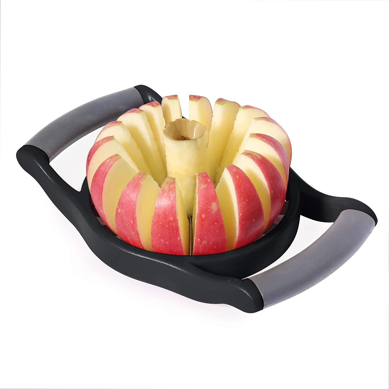 YYP Apple Slicer Corer, Stainless Steel Upgraded 16-Slice Sharp Apple Slice Cutter Large, Ergonomic Plastic Handle Non-Slip Easy Grips, Kitchen Fruit Divider Prevent Rust Easy Clean (Black)