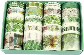 Fresh Green Washi Tape 20 Rolls, Grass Leaf Flower Tree Fruit Kawaii Cake Animal Washi Masking Tape Set for Scrapbooking, Bullet Journal, Planner, Gift Wrapping, Holiday Decoration