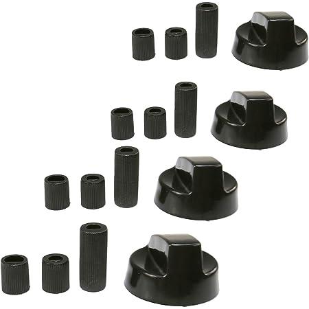 Universal Lot de 4 boutons de réglage universels pour fours cuisinières et plaques chauffantes Noir