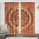 Sophia-Art - Cortina India de Color Naranja teñida para Ventana, Puerta, Ventana, balcón, Cortinas, Cortinas de Mandala Bohemio, Cortinas Hechas a Mano