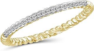 Jewelexcess 1/10 CTW 银白色钻石戒指