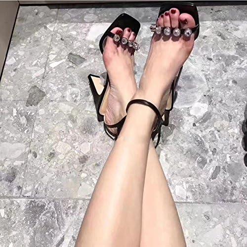 Xue Qiqi bloc carré à l'aide d'une sangle de forage d'eau épais avec des sandales à talon haut sandales open toe marée féminin,37, noir 10cm avec