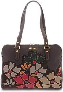 GIUDI ® - Borsa Donna in pelle vitello, applicazione petali, Made in Italy, vera pelle, tracolla. (T. Moro)
