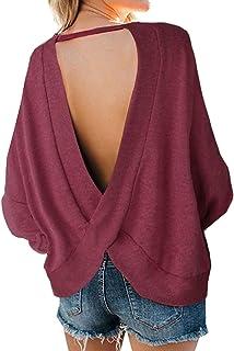 Women's Backless Loose Shirt Long Sleeve Open Back Cross Tee Top Blouse