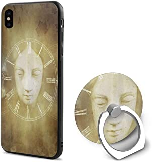 LeYue iPhone Xs/X Case, Birth Life Death Mask Slim Fit Liquid Silicone Gel Rubber Shockproof Case Soft Cover +Finger Ring Holder Stand Grip Mount Kickstand for iPhone X/XS 5.8 Inch